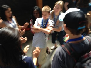 Andrew Kipfer, USA, does a trust fall with a group of youth at PA 2015.  PHOTO CREDIT: Laura Kraybill